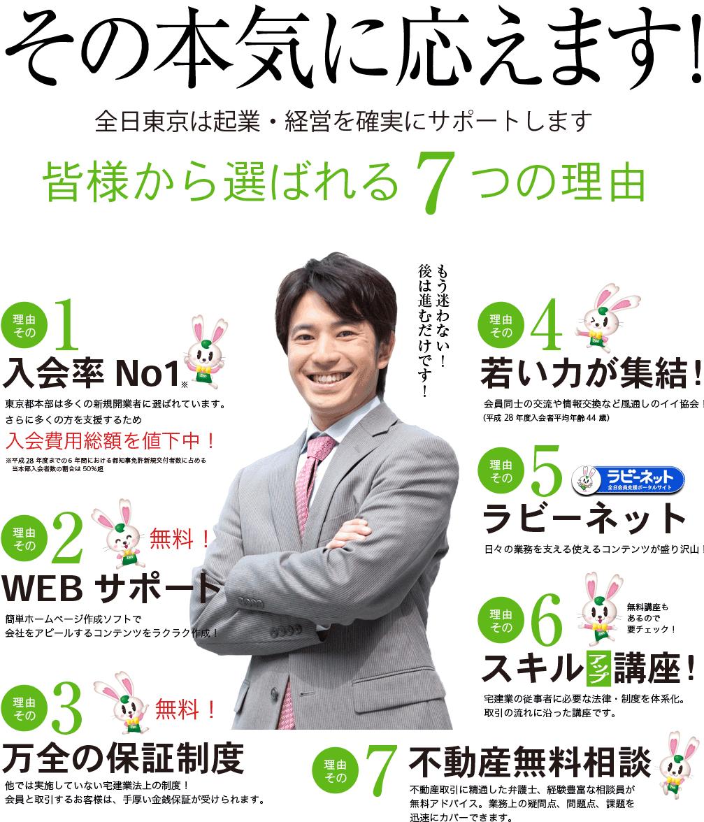 その本気に応えます!全日東京は起業・経営を確実にサポートします 皆様から選ばれる7つの理由